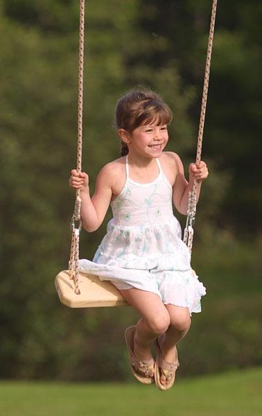 Girl swinging over hell